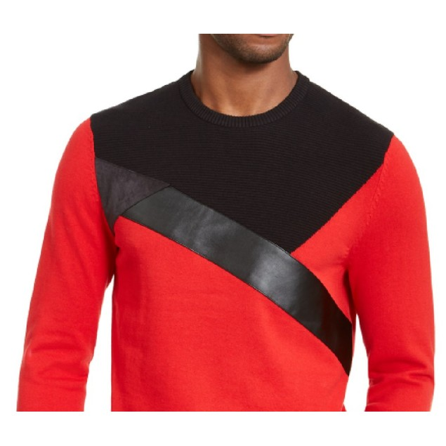 INC International Concepta Colorblocked Sweater Red 2 Extra Large