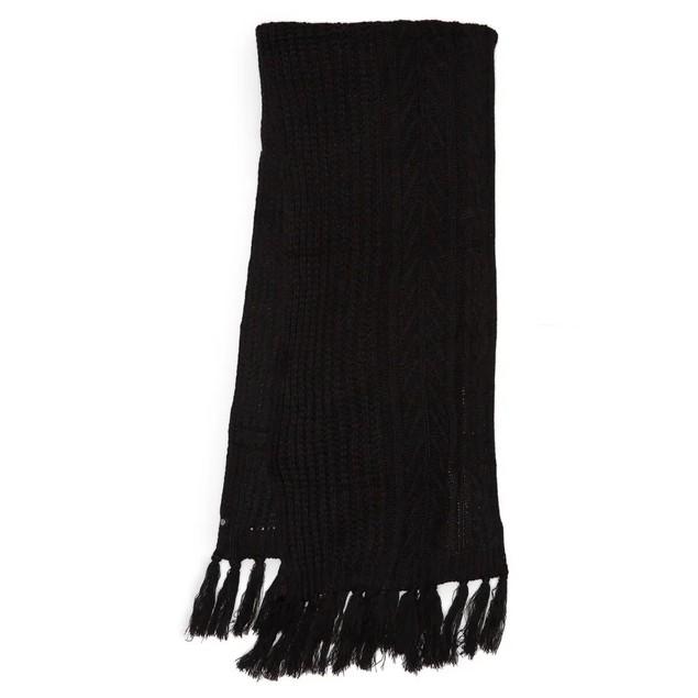 Treasure & Bond 100% Acrylic Fringe Cable Knit Scarf for Women, One Size,