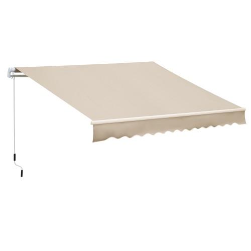 11.8'x 8.2'Patio Manual Retractable Patio Awning Window Sunshade Shelter