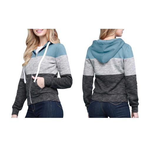 Made By Johnny Women's Active Casual Zip-up Color Block Hoodie Sweatshirt- 3 Colors