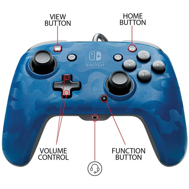 PDP Face off Deluxe Switch Controller and Audio (Camo Blue) for Nintendo Sw