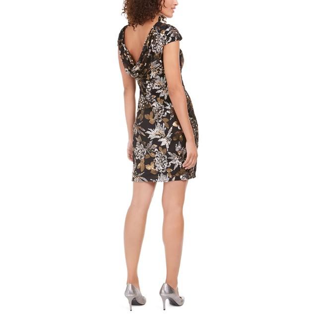 Calvin Klein Women's Sequined Cowl-Back Dress Gray Size 6