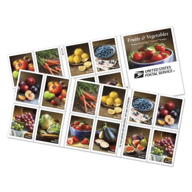 Fruits And Vegetables Booklet of Twenty Forever Postage Stamps