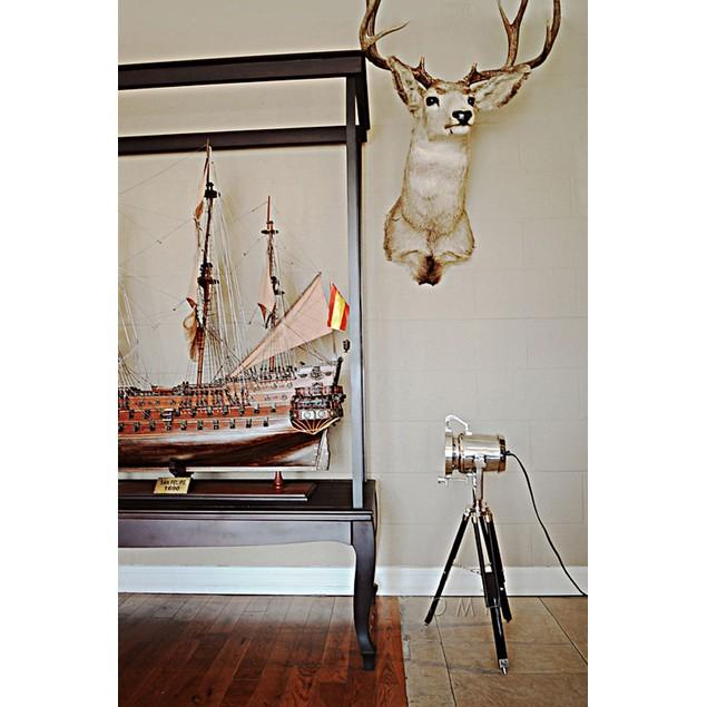 Old Modern Handicrafts Aluminium Spot Light On Wooden Stand