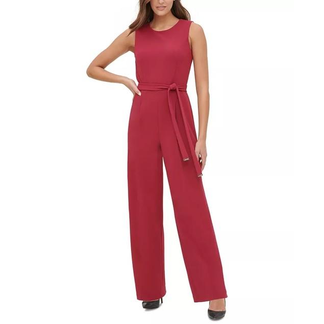 Tommy Hilfiger Women's Crepe Belted Jumpsuit Dark Red Size 16