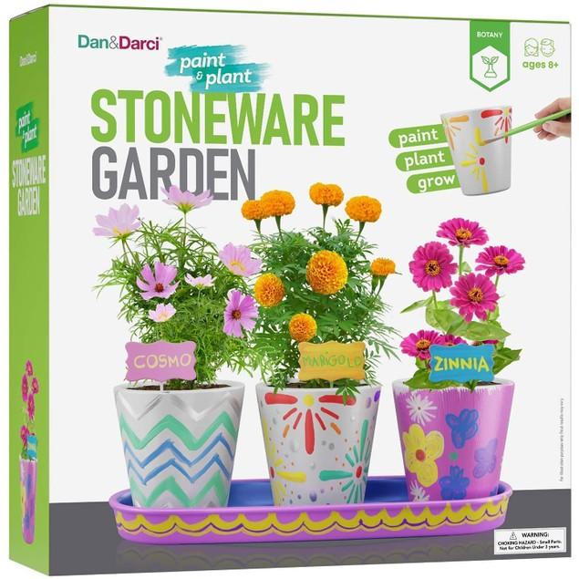 Paint & Plant Stoneware Flower Gardening Kit - Paint & Grow Cosmos Zinnia & Marigold