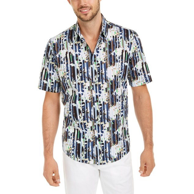 Alfani Men's Classic-Fit Abstract Floral-Stripe Shirt Navy Size Large