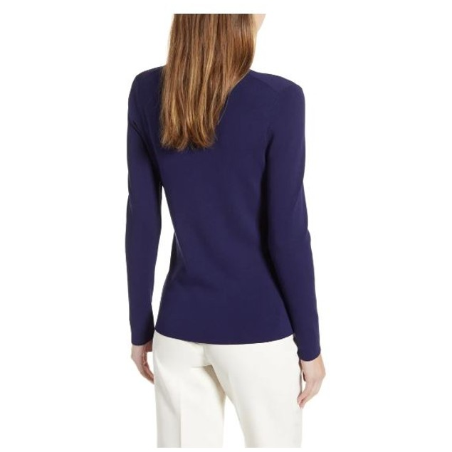 Anne Klein Women's Long Sleeve Turtleneck Sweater Blue Navy Size Medium