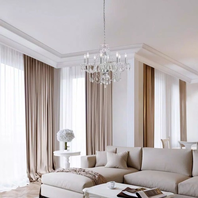 Decor Living 8-Light Contemporary Crystal Reflect and Chrome Chandelier