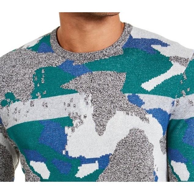 Alfani Men's Abstract Jacquard Crewneck Sweater Green Size Small