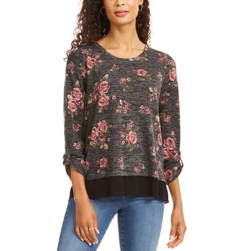 Style & Co Women's Petite Floral Split Back Top Gray Size Petite