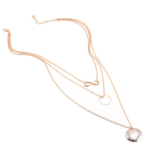 Women Lucky 8 Shape Rings Pendant Necklace