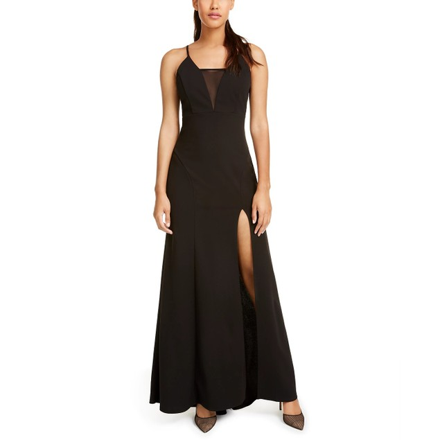 Emerald Sundae Juniors' Strappy Illusion Slit Gown Black Size Extra Small