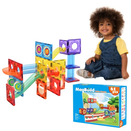 Zunammy Roller Coaster Kids Magnetic Building Blocks Tile Set ( 61 Piece )