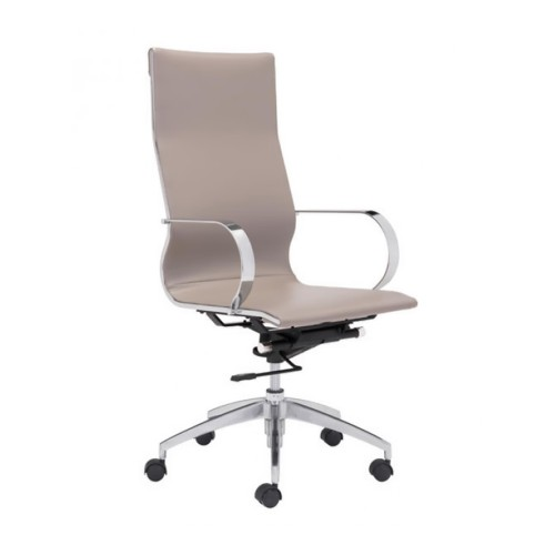 Zuo Glider Hi Back Office Chair with Lumbar Support - Taupe