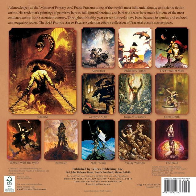 Frazetta Fantasy Art Wall Calendar, Fantasy Art by Calendars