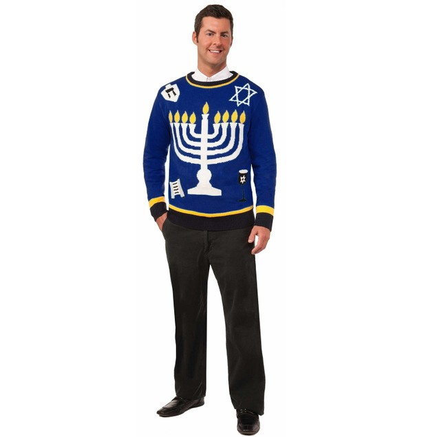 Hannukah Ugly Christmas Sweater Chanukah Menorah Holiday Outrageous Tacky