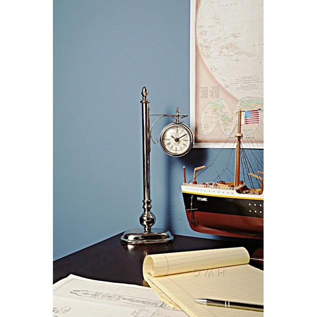 Old Modern Handicrafts Brass/Aluminum Lamp Post Clock One Sided