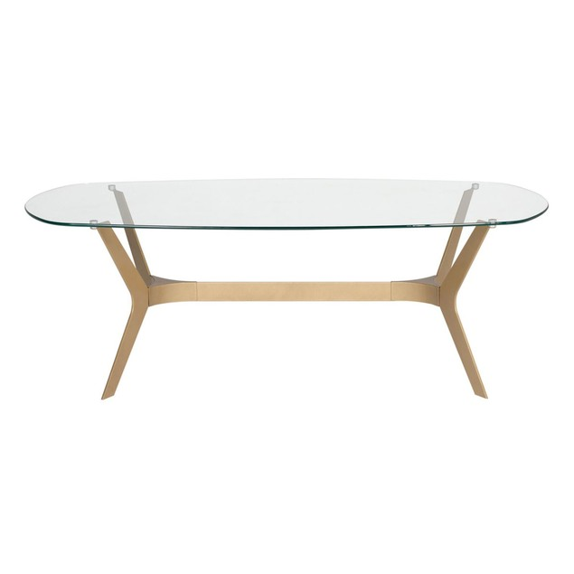 "Studio Designs Archtech Modern Coffee Table 52"" in Gold / Clear Glass"