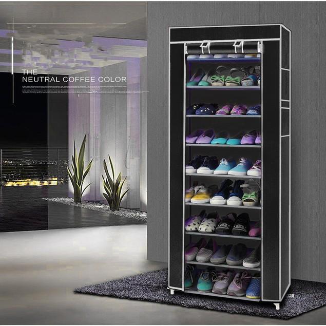Fashionable Room-saving 9 Lattices Non-woven Fabric Shoe Cabinet