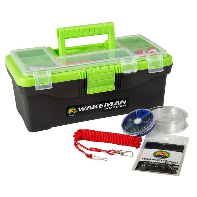 Wakeman Fishing Single Tray Tackle Box 55 Pc Tackle Kit - Lime Green