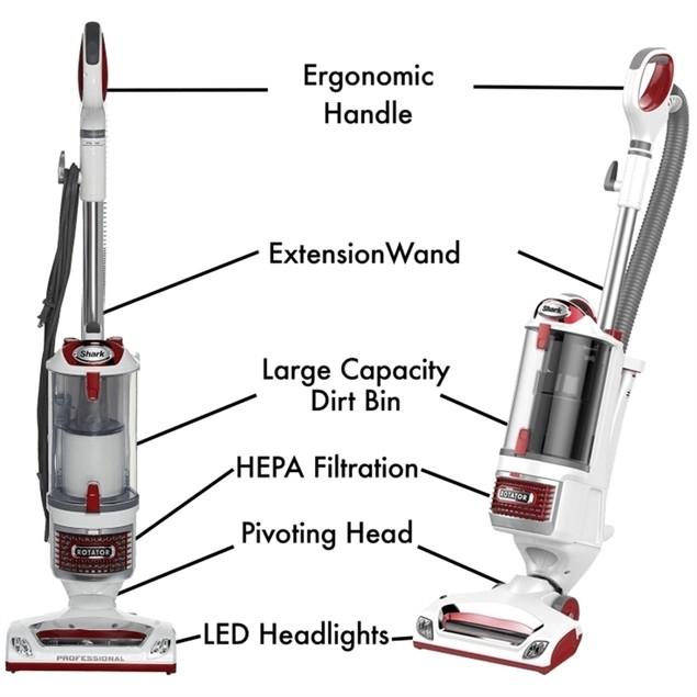 Shark UV560 Rotator Upright Vacuum, White w/Red Accent (Used - Good)