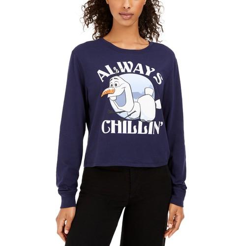 Disney Juniors Women's Frozen Olaf Graphic T-Shirt Blue Size Medium
