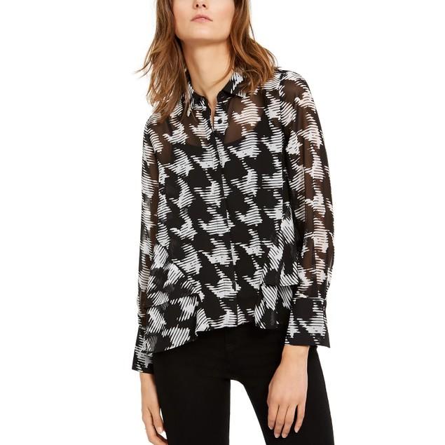 INC International Concepts Women's Sheer Top Black Size Petite Medium