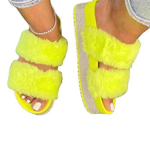 Rhinestone Platform Slippers Ladies Plus Size Flip Flops