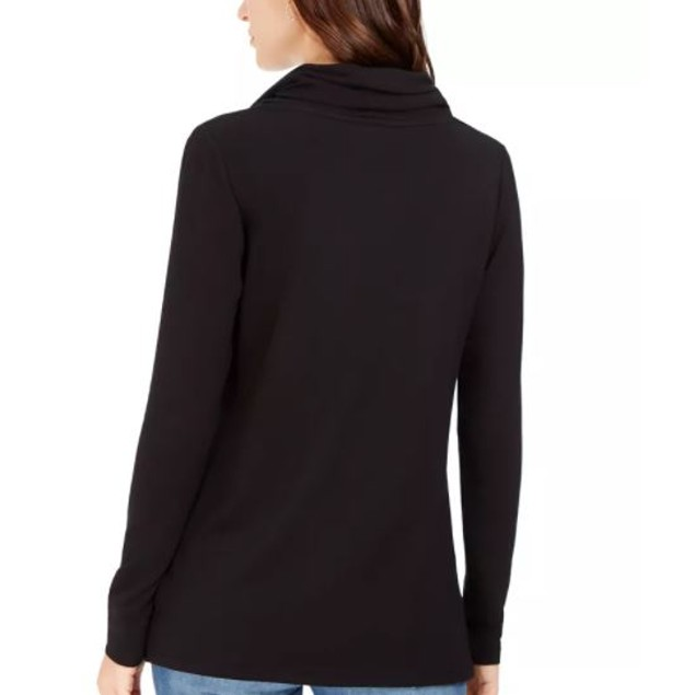 Charter Club Women's Cowlneck Top Black Size X-Large