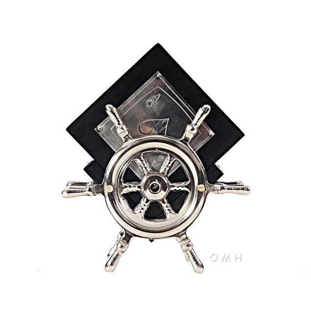Old Modern Handicrafts Aluminium/Wood Coaster On Ship Wheel, Set Of 6