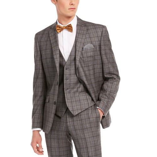 Bar III Men's Slim-Fit Gray Plaid Suit Separate Jacket Gray Size 40