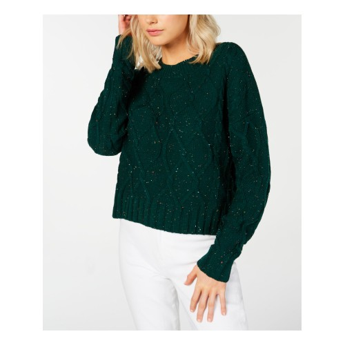Ultra Flirt Juniors' Cable-Knit Sweater Green Size Small