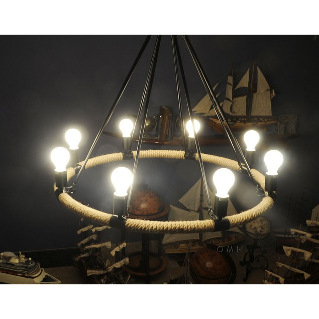 Old Modern Handicrafts 8 Bulbs Rope Pendant Lamp