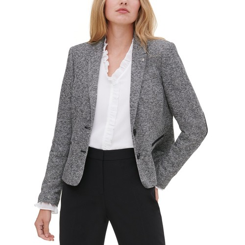 Tommy Hilfiger Women's Marled Peak-Lapel Blazer Gray Size 12