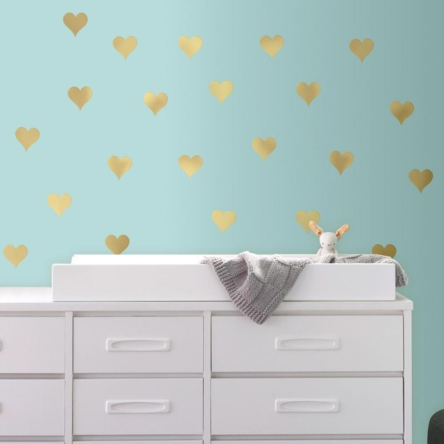 Roommates Baby Room Wall Decorative Gold Heart Peel and Stick Wall Decals