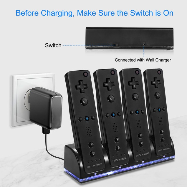 4 Remotes Charging Dock Game Controller Charger 2800mAh Rechargeable Battery