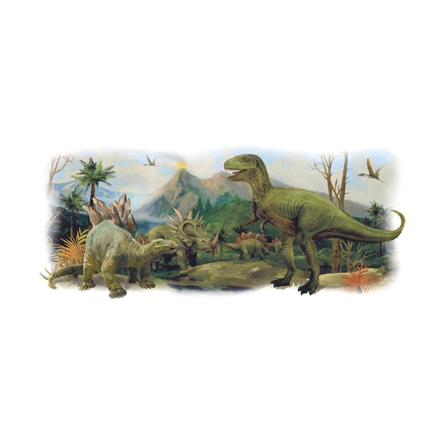 Roommates Wall Decor Dinosaurs Giant Scene Peel and Stick Wall Graphic