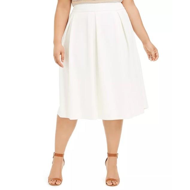 Calvin Klein Women's Plus Size Pleated Scuba Midi Skirt White Size 20W