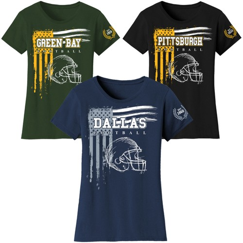 Women's Vintage USA Flag Football T-Shirts