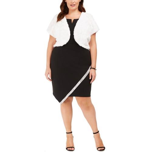 BCX Women's Trendy Plus Size Faux-Fur Shrug White Size 3 Extra Large