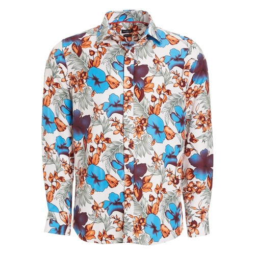 Rosso Milano Modern Fit Long Sleeve Fashion Floral Dress Shirt