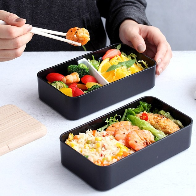 Woody Double-layer Plastic Microwaveable Student Lunch Box With Lid Portable Adult Lunch Box