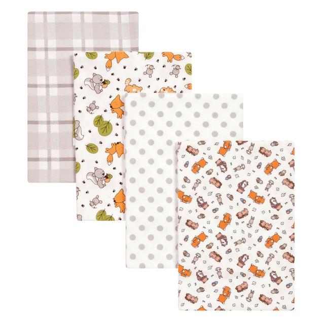 Trend Lab Wild Bunch Flannel Baby Blankets- 4 Pack