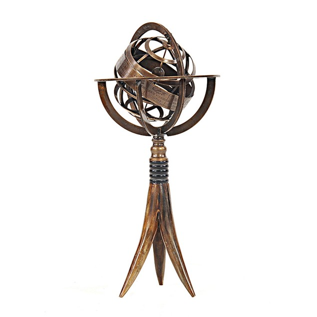 Old Modern Handicrafts Brass Armillary On Horn Stand