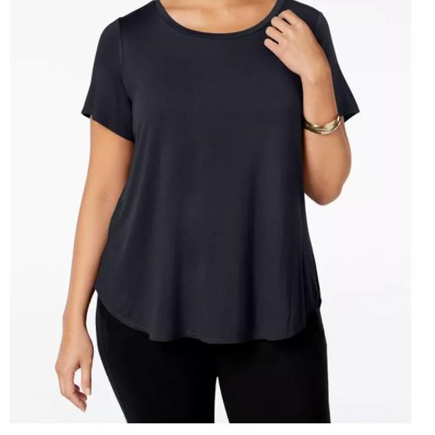 Alfani Women's Plus High Low T-Shirt Black Size 1X