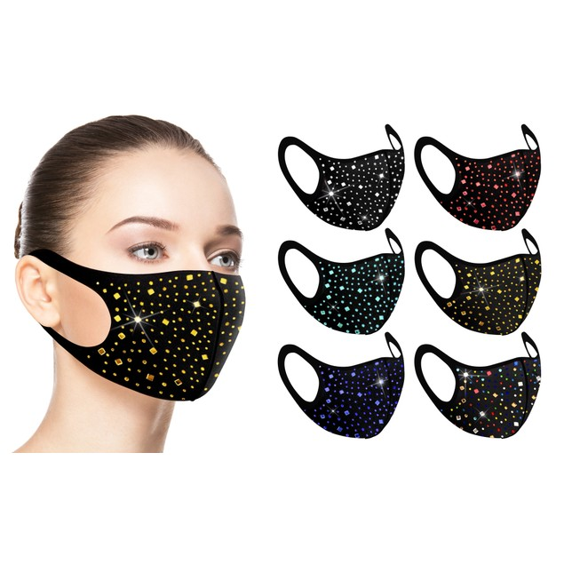 6-Pack: Rhinestone Bling Face Mask