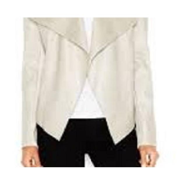 Bar III Women's Flyaway Faux-Leather Jacket White Size Medium