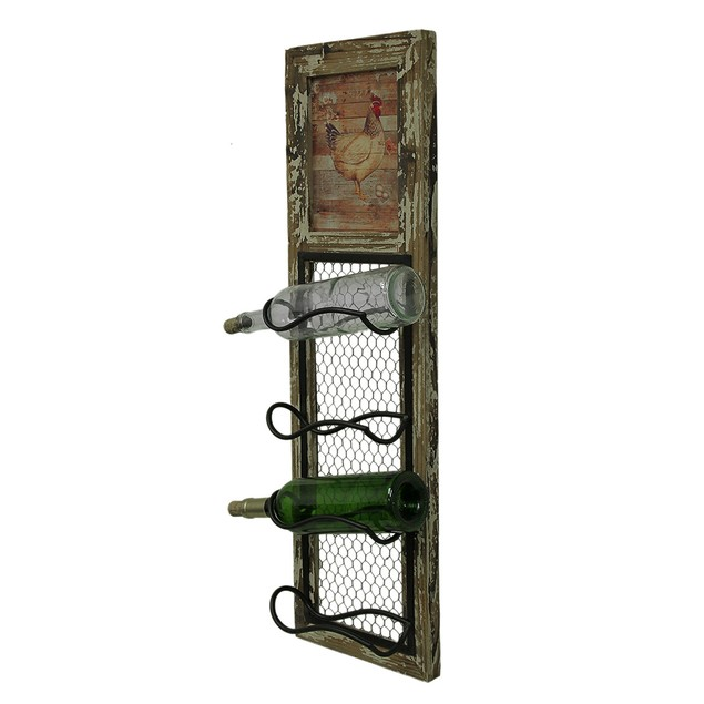 Rustic Rooster Wall Mounted 4 Bottle Wine Rack Wine Racks