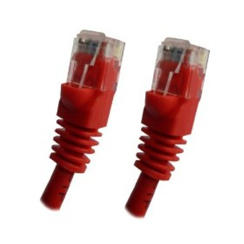 RED - CAT5e Ethernet Network Patch Cable, Molded Boots - 10 Feet